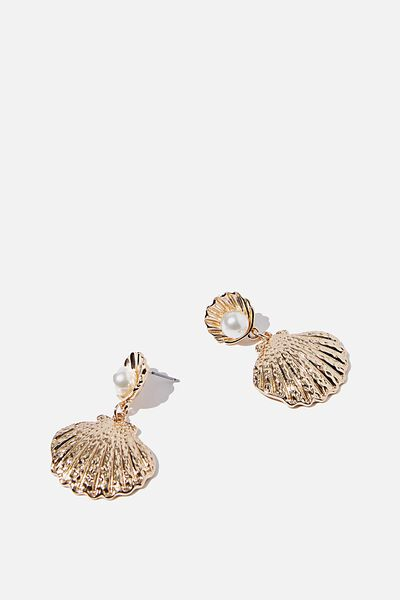 Open Shell Pearl And Gold Earring, GOLD/PEARL