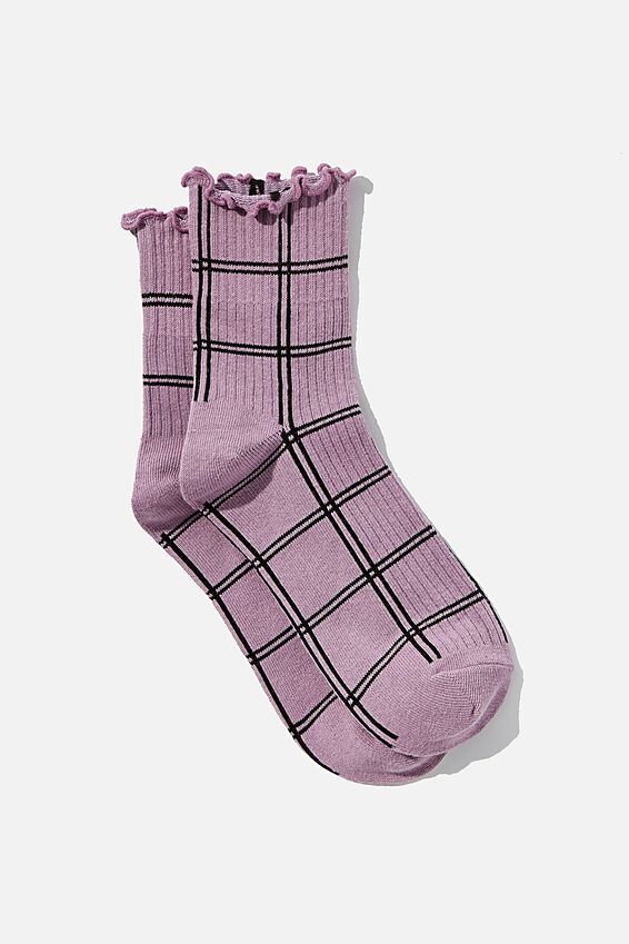 Frill Ribbed Quarter Crew Sock, SOFT MAUVE CHECK