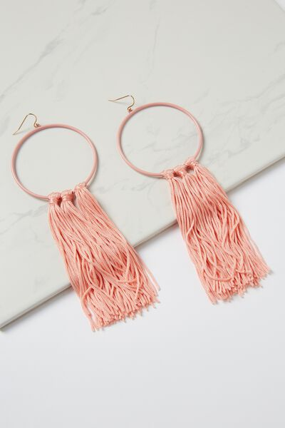Runway Tassle Statement Earring, PINK