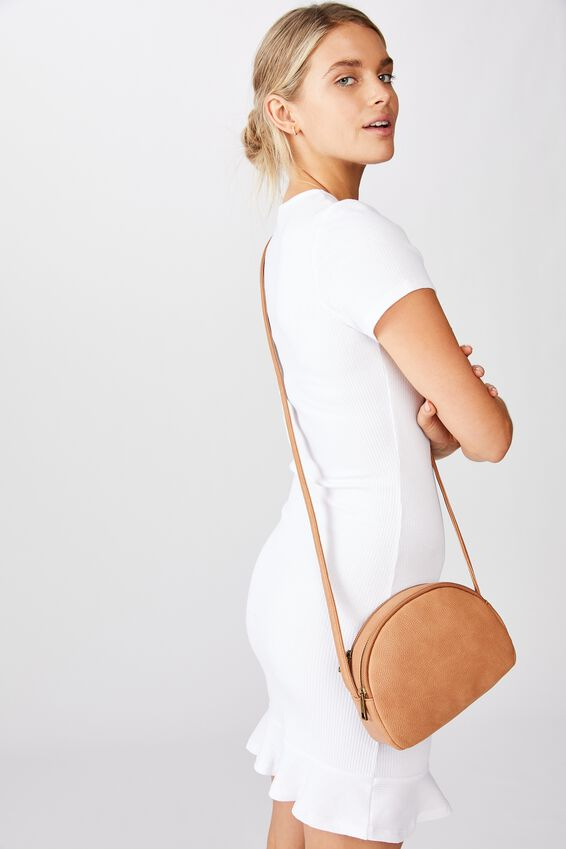 Double Zip Half Moon Bag, TAN