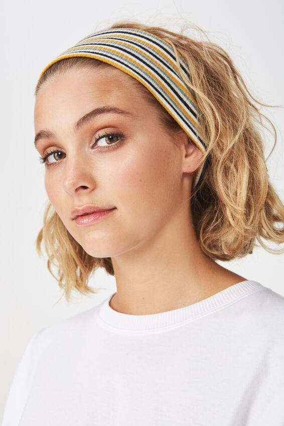 Farah Flat Rib Headband, MUSTARD/BLACK SPARKLE STRIPE RIB