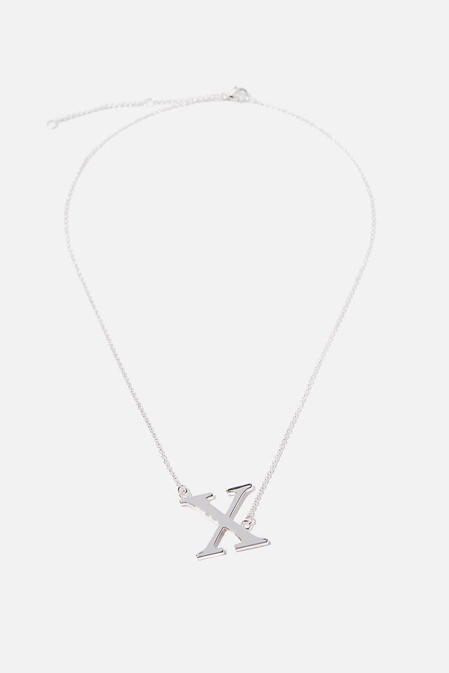 Tilted Letter Necklace, SILVER X