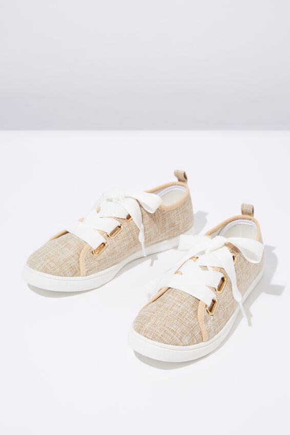 Penelope Lace Up Plimsoll, STONE WOVEN TEXTILE