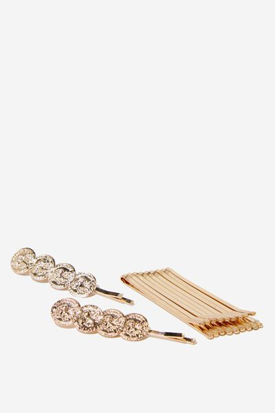 Miranda Coin Hair Pins, GOLD