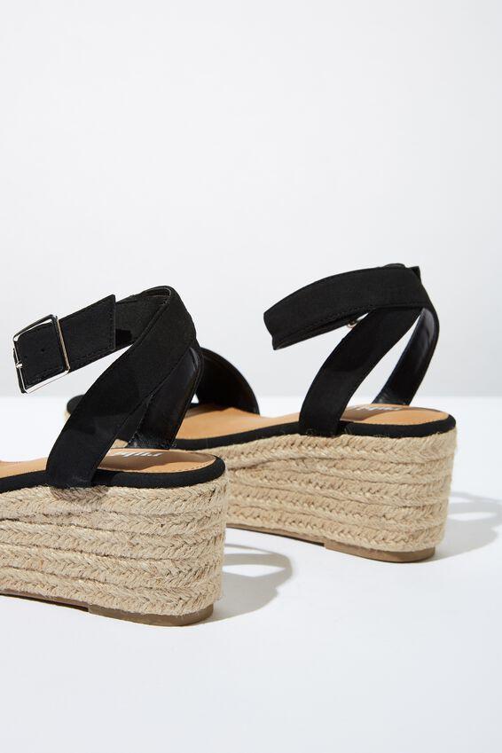 Caitlin Espadrille Wedge Heel, BLACK SMOOTH