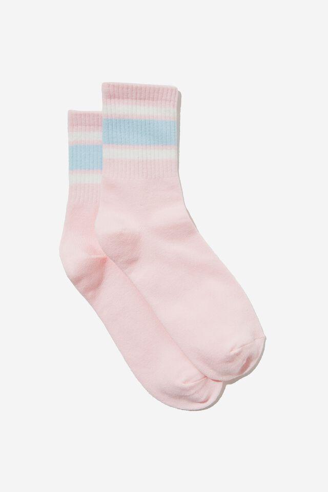Fine Rib Sports Sock, SPRING PINK/BLUE WHITE STRIPES