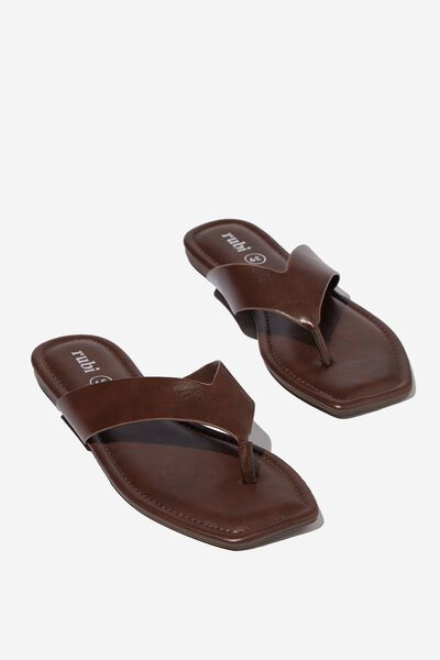 Everyday Molly Toe Post Sandal, CHOCOLATE PU
