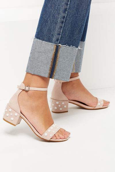 Fern Low Block Heel, BLUSH PEARL