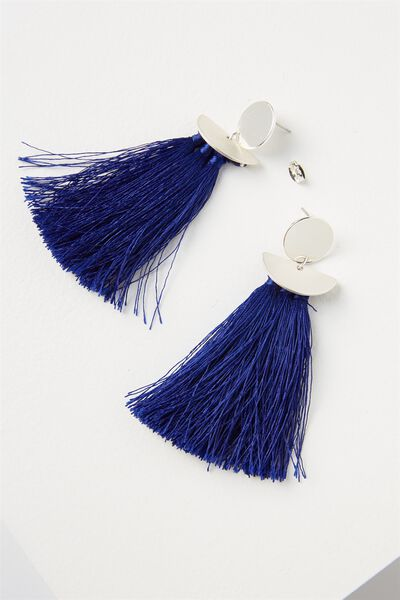 Princess Tassle Statement Earring, ELECTRIC BLUE/SILVER