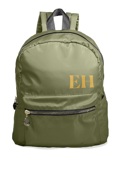 Personalised Traveller Backpack, KHAKI-GOLD