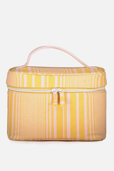 Large Structured Cosmetic Case, MUSTARD STRIPE