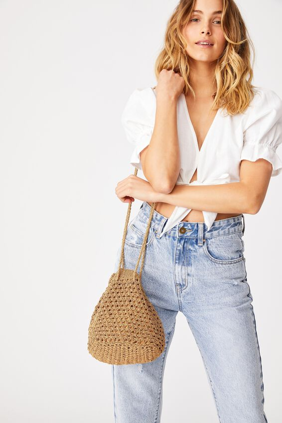 Macrame Knit Bucket Bag, MUSTARD