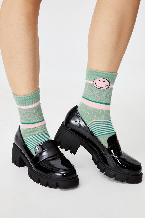 Fine Rib Sports Sock, LCN SMI SMILEY DUSTY MINT PINK