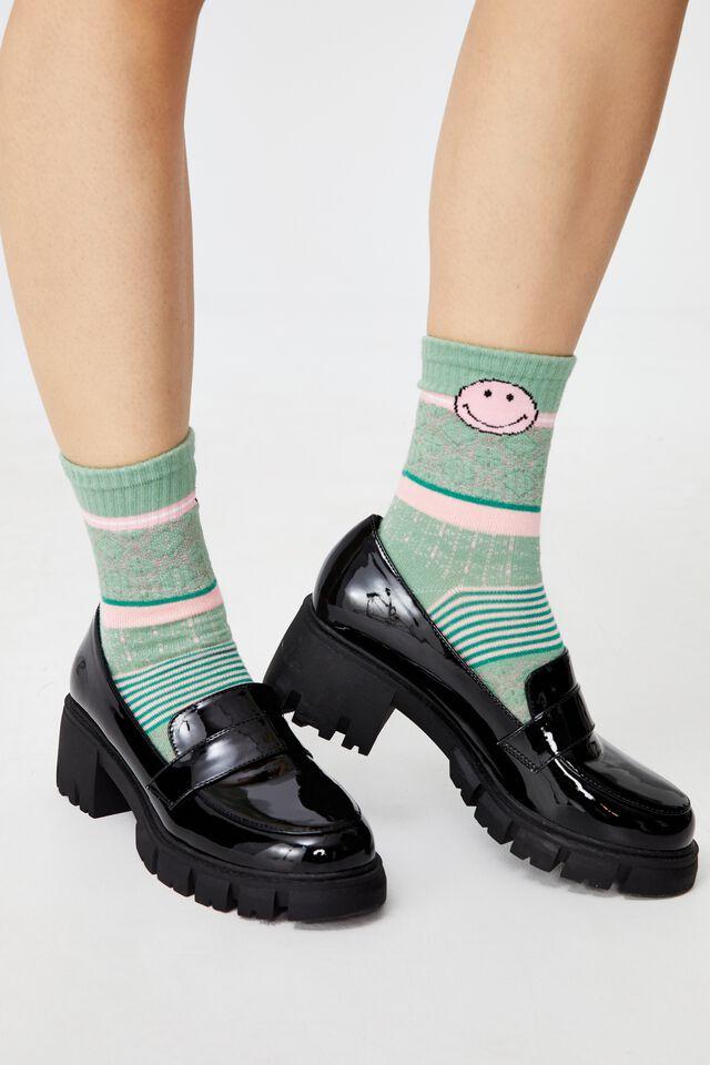 Smiley Craft Intarsia Crew Socks, LCN SMI SMILEY DUSTY MINT PINK