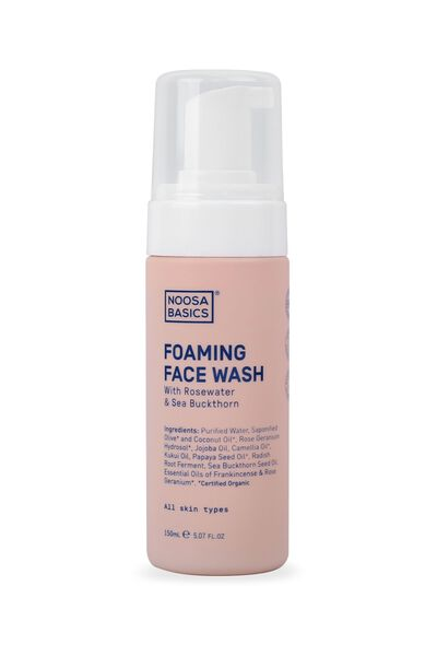 Noosa Basics Foaming Face Wash All Skin Types, ROSEWATER AND SEA BUCKTHORN