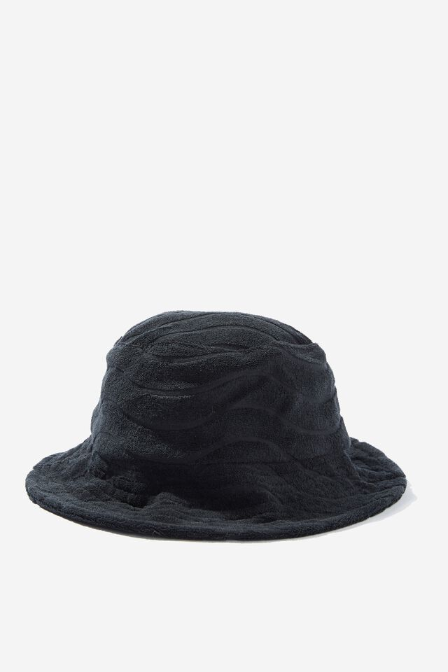 Terry Bianca Bucket Hat, BLACK WAVE TERRY