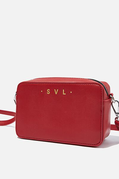 Personalised Stevie Boxy Cross Body Bag, DEEP RED