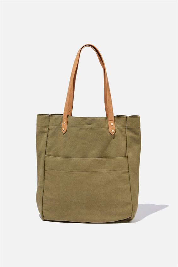 Olive Carryall Tote Bag, KHAKI