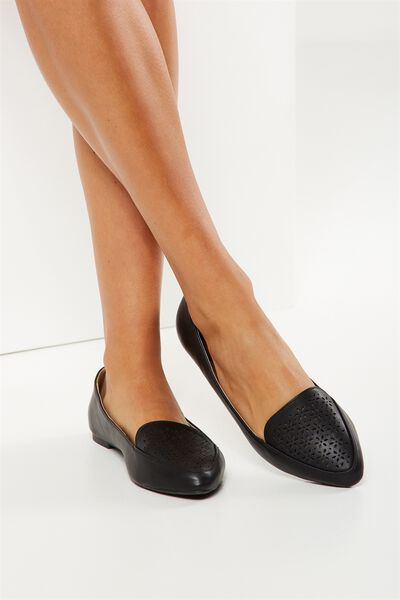 Peta Point Loafer, BLACK PERF PU