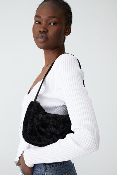 Nadia Underarm Bag, BLACK FLUFFY