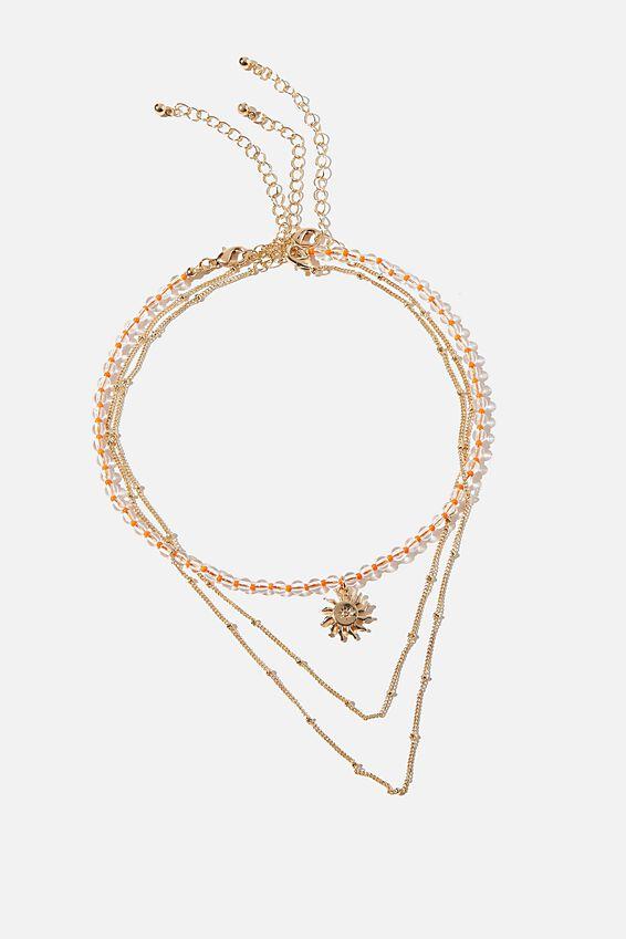 Holiday Beaded 3Pk Necklace Set, ORANGE CLEAR