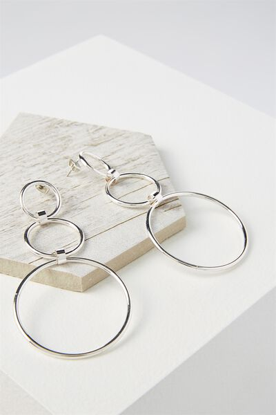 Three Hoop Drop Statement Earring, SILVER