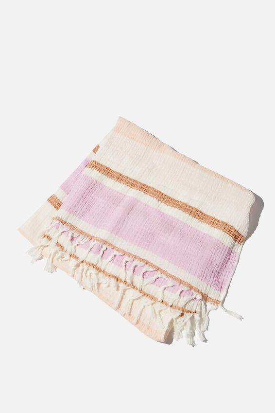 Coogee Lightweight Towel, LILAC DECK CHAIR STRIPE