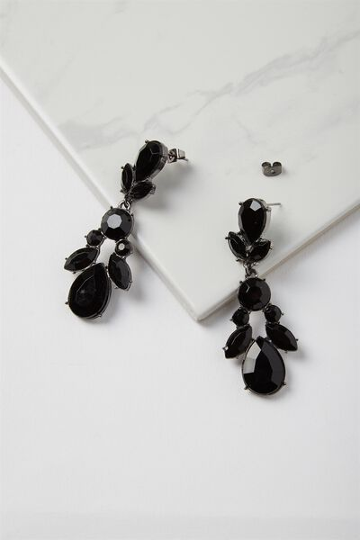 Drop Jewel Claw Earring, BLACK