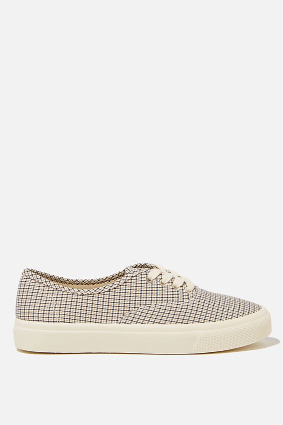 Jamie Lace Up Plimsoll, CHECK