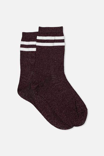 Sporty Sparkle Stripe Sock, BLACKBERRY SPARKLE/WHITE STRIPE