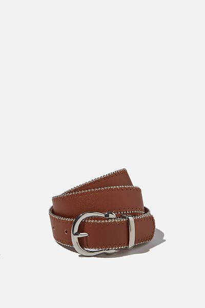 Annie Studded Buckle Belt, TAN/SILVER