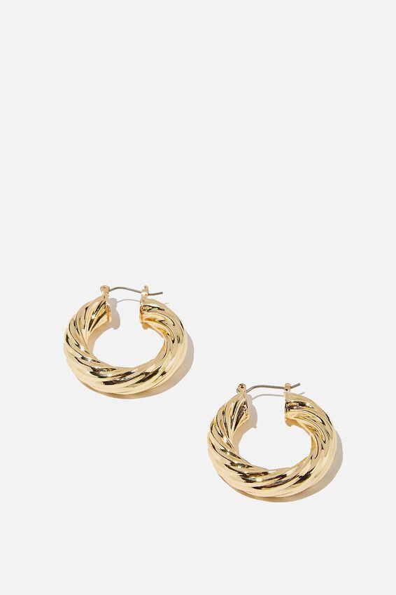 Luxe Layers Hoop, GOLD TWIST