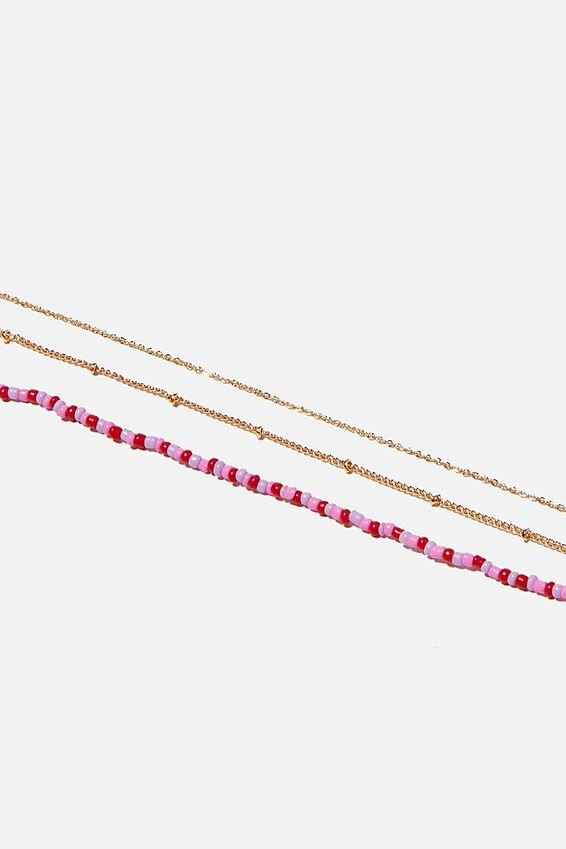 Holiday Beaded 3Pk Necklace Set, LILAC AND RED