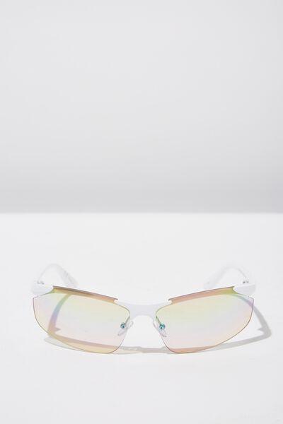 Kiki Sports Wrap Sunglass, WHITE/REVO