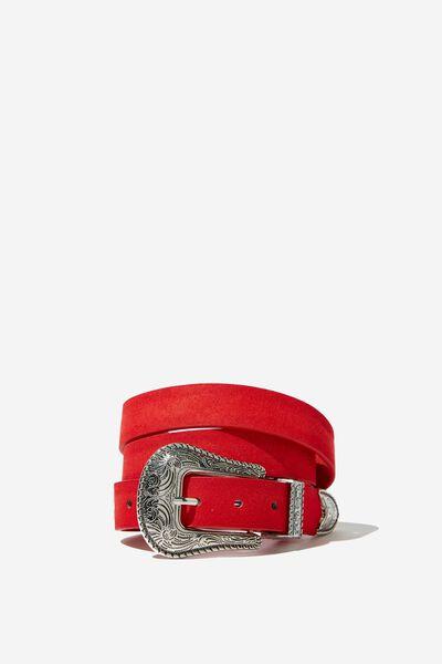 Western Buckle Belt, RED MICRO