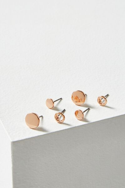 Aish Core Stud Pack, ROSE GOLD