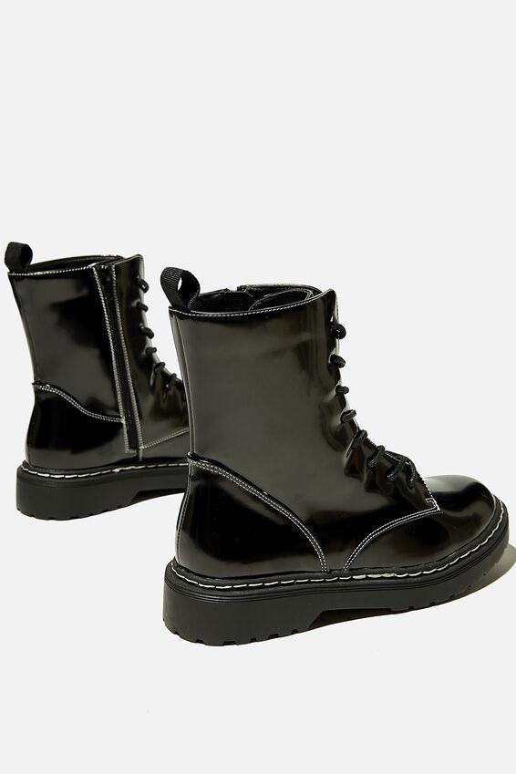 Freda Combat Lace Up Boot, BLACK BOX