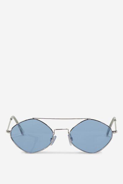 Hexy Top Bar Sunglasses, BLUE/SILVER