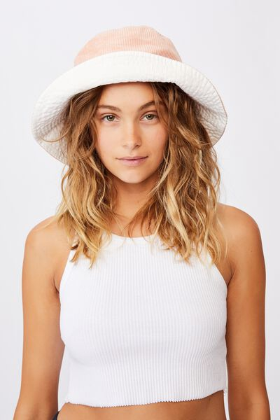 Elly Reversible Wide Brim Bucket Hat, BLUSH CORD