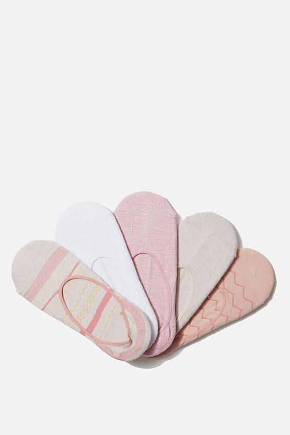 5Pk Low Cut Sock, MISTY ROSE CHEVRON