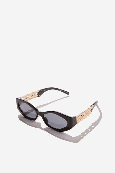 Jodie Chain Detail Sunglass, GOLD/BLACK