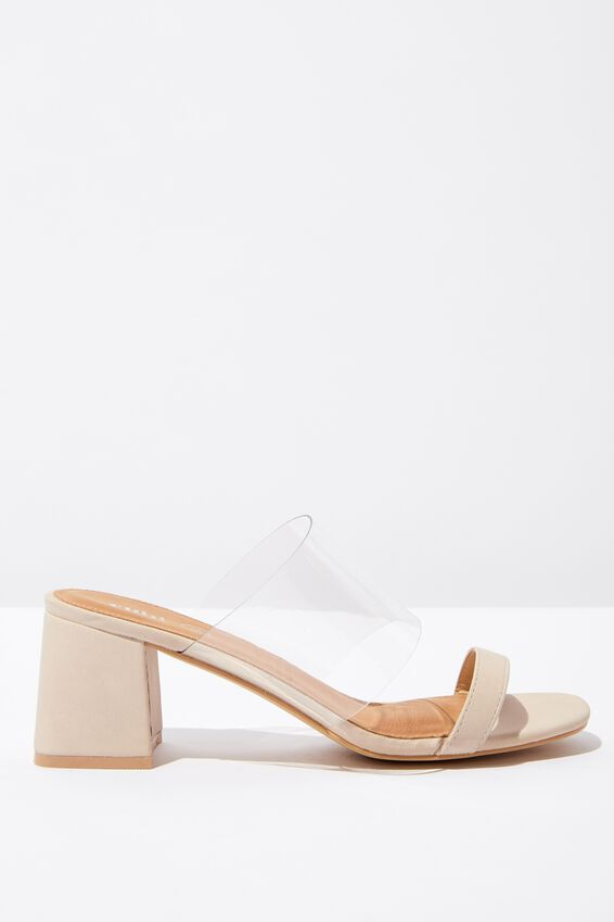 Franklin Double Strap Heel, CLEAR/STONE