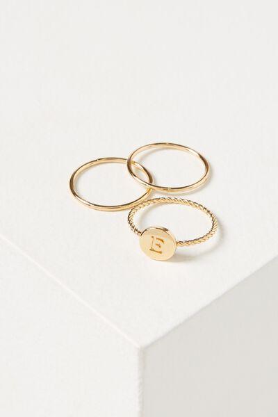 Letter Pendant Ring, GOLD - E