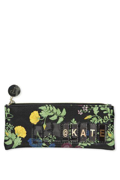 Personalised Mini Cosmetic Case, BOTANICAL BLACK