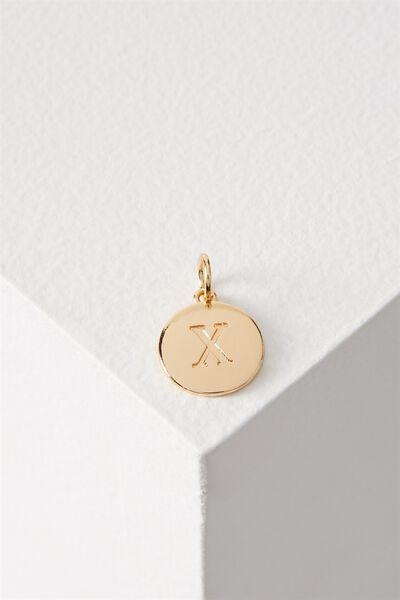 Letter Flat Pendant Charm, GOLD - X