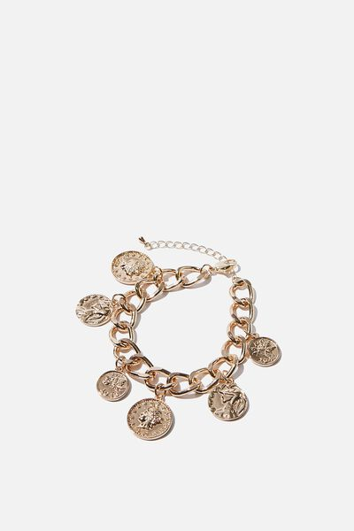 Luxe Layers Coin Charm Bracelet, GOLD