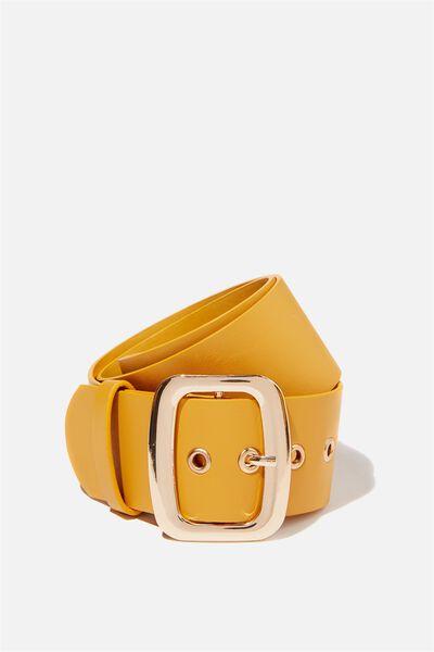Romy Rectangle Belt, MUSTARD