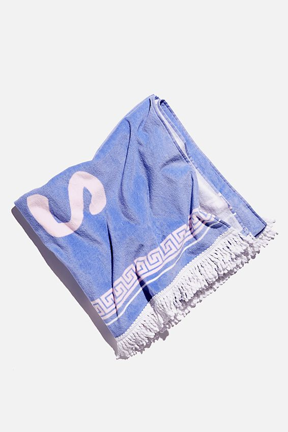 Bondi Rectangle Towel, DUSTY BLUE GET SOME SUNSHINE