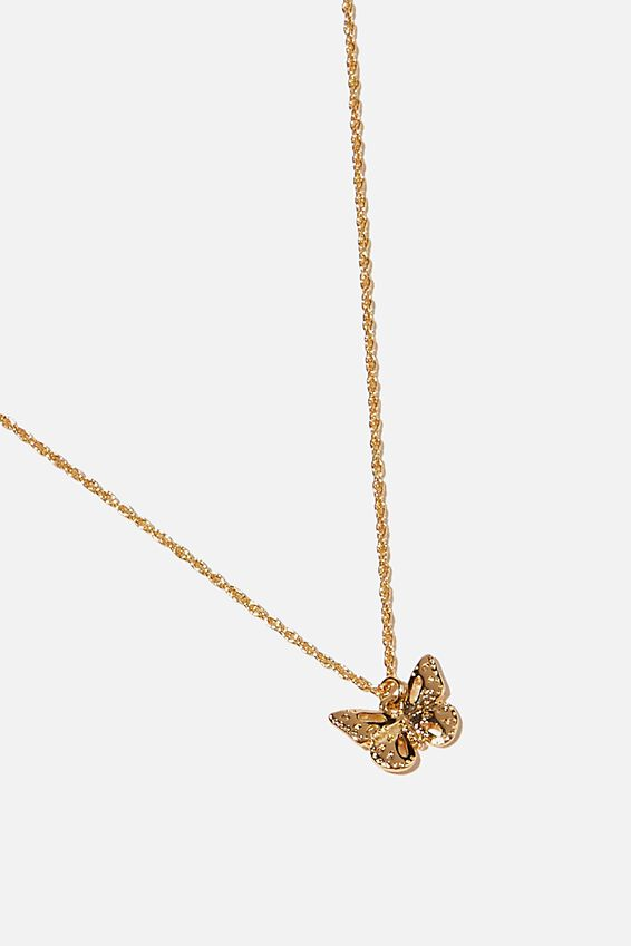 Brighter Days Pendant Necklace, FILLIGREE BUTTERFLY GOLD