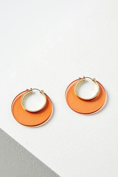 Cheshire Earring, TINTED RUST/GOLD